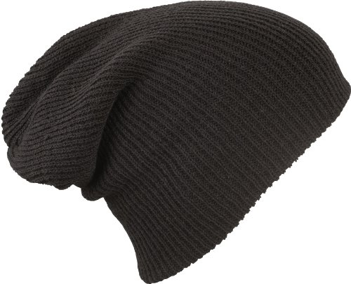 MB Oversized Baggy Fit Slouch Style Beanie Beany Cap - 6 New Colours (Very Black)