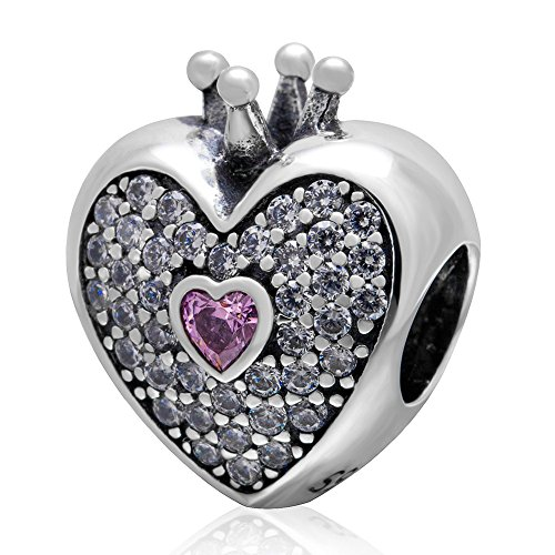 SoulBeads Solid 925 Sterling Silver Heart with Crown Charm Bead with Pink&Clear Stone Fits Pandora Charms Bracelet, Necklace & More,Anniversary Gifts (Pandora Charms Number 1 compare prices)