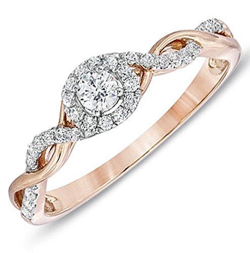 0.58 Carat Infinity Affordable Engagement Ring with Round cut Diamond on 18K Rose gold