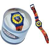 """Kinderuhr """" Amazing Spider-Man """" + Aufbewahrungsdose / Uhrenbox - Uhr Kinder Armbanduhr - Quarz Analog Lernuhr - Quarzuhr / Box Dose - Kinder-Armbanduhr Jungen Spiderman Spinnen Man"""