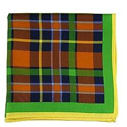 PS-A-318 - Orange - Green - Yellow Italian Design Silk Pocket Square