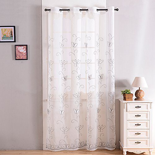 top finel embroidered butterfly voile window curtain sheer curtain panels for living panel