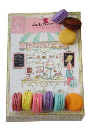 Leilalove Macarons, 16 Macarons – 7 Assorted Signature Flavors Wraped in a Superior Gift Box