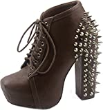 Vintage FRANCHESKA-07 Lita Spike and Stud Chunky High Heel Platform Lace Up Ankle Boot Bootie ZOOSHOO