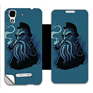 Skintice Designer Flip Cover with a hi-res printed Vinyl Wrap-around for Micromax AQ5510 Flip Cover 1, Design - Smoke Pipe