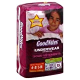 Huggies Goodnite Youth Pant Girl S/M Jumbo 15-Count (Pack of 4)