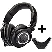 Audio-Technica ATH-M50X On-Ear Wired Professional Studio Headphones + Bluetooth Adapter-Amplifier BAL-M50X