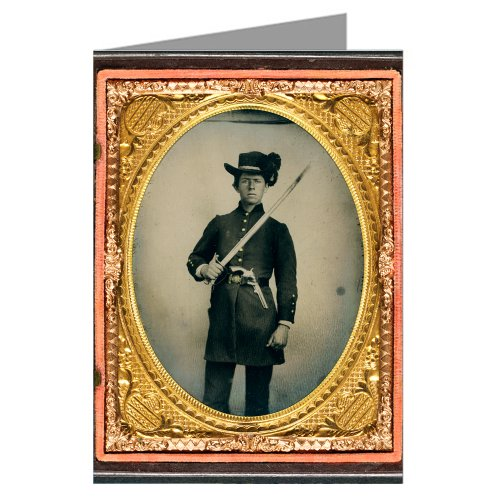 6-vintage-greeting-cards-of-confederate-young-soldier-in-uniform-and-hardee-hat-with-holstered-revol