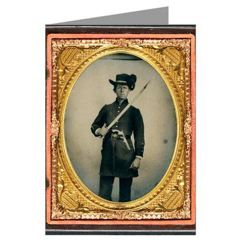 12-cartes-vintage-confederate-jeunes-soldats-en-uniformes-et-hardee-bonnet-avec-revolver-holstered-e