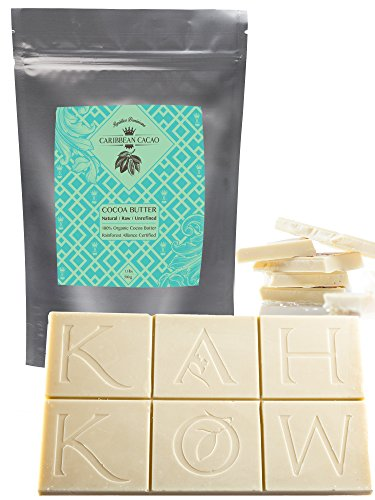 Cocoa Butter Raw Pure Unrefined - 1 LB Food Grade Bar. Incredible Natural Cacao Scent. Amazing Skin Enhancer. For body butters, lotion, cream, lip balm or cooking & smoothies. Caribbean Cacao Brand