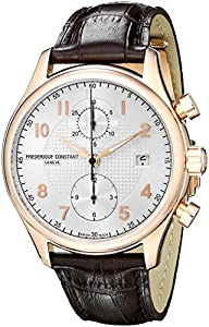 Frederique Constant Men's FC393RM5B4 Run About Rose Gold-Plated Stainless Steel Watch with Brown Leather Band
