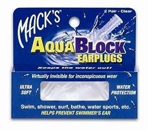 Mack's AquaBlock Earplugs - Clear (2 pair)