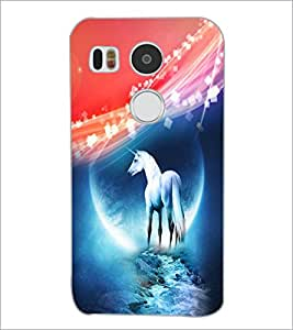 PrintDhaba White Horse D-4013 Back Case Cover for LG NEXUS 5X (Multi-Coloured)