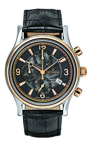 GROVANA 1728,9557 De cuarzo Swiss para hombre reloj infantil con mecanismo de esfera cronógrafo y correa de cuero negro