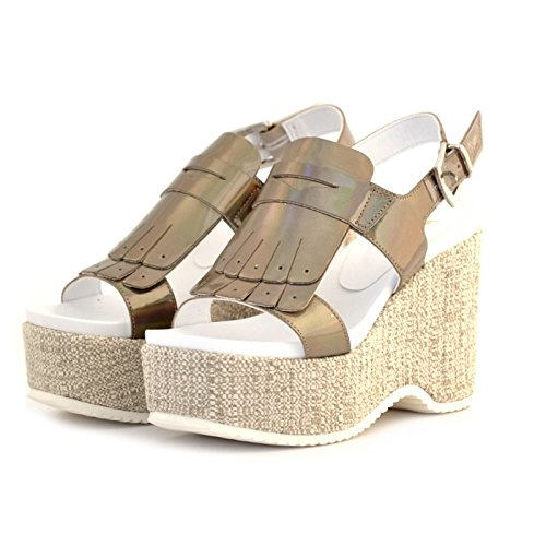 SANDALI DONNA JEANNOT ZEPPA IN VERNICE TAUPE GRIGIO E FRANGIA MADE IN ITALY 38