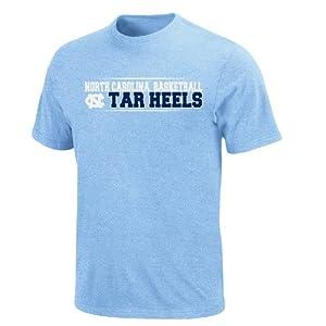 Buy NCAA North Carolina Tar Heels Baseline Jam Basic T-Shirt, Harbor Blue Heather by Majestic