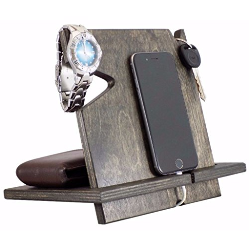 5th Anniversary Gift, Wooden iPhone Docking Station, Gifts For Men, Gifts For Boyfriend (Ebony-non personalized)