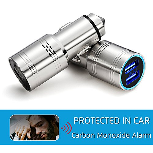 Carbon Monoxide Detector Car Charger, CO Alarm in Car with Emergency Glass Breaker 2 Ports 2.4A USB Adapter Fast Charge For iPhone Android (Black) (Car Battery Alarm compare prices)