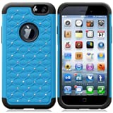 myLife Antique Blue + Modern Black {Rugged Bling Design} 2 Layer Hybrid Case for the NEW iPhone 6 (6G) 6th Generation... by myLife Brand Products