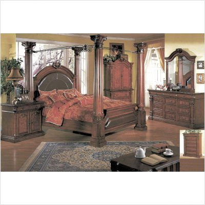 Sophie Poster Bedroom Set in Cherry and Ash Burl Size: Queen