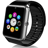 Smart Watch Bluetooth Sweatproof Wristwatch with Touch Screen for Notification Push /Handsfree Call for Android / limited function for iPhone- Black