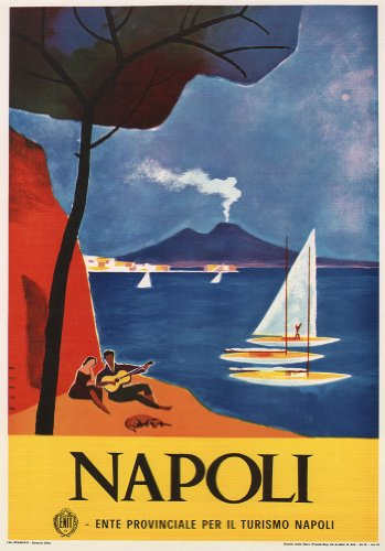 c1926 Vintage Travel ITALY See NAPOLI by Mario Puppo 250gsm ART CARD Gloss A3 Reproduction Poster