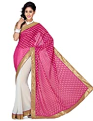 Deepika Saree Pink And White Color Faux Chiffon And Georgette Jacquard Saree With Blouse