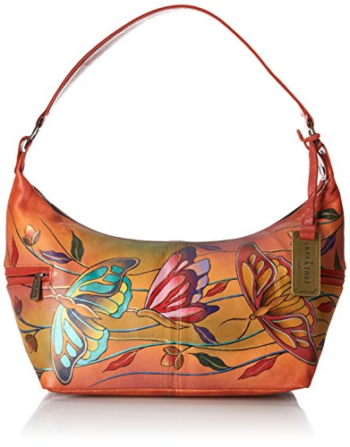Anuschka East West Medium Shoulder Bag, Angel Wings Tangerine, One Size