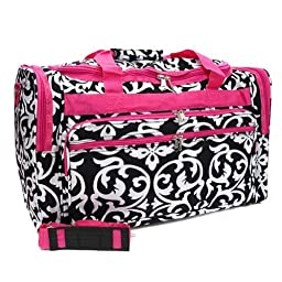 LD Bags Womens Black/White Damask w/Hot Pink Trim, 22\