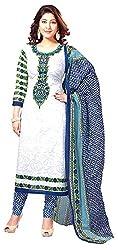 D WINE Women's Cotton Unstitched Salwar Suit (White and Blue)