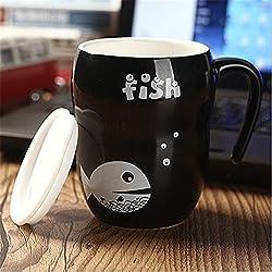 Cute Creative Fish CeramiCup Black And White Couple Cups Coffee Tea Milk Mugs