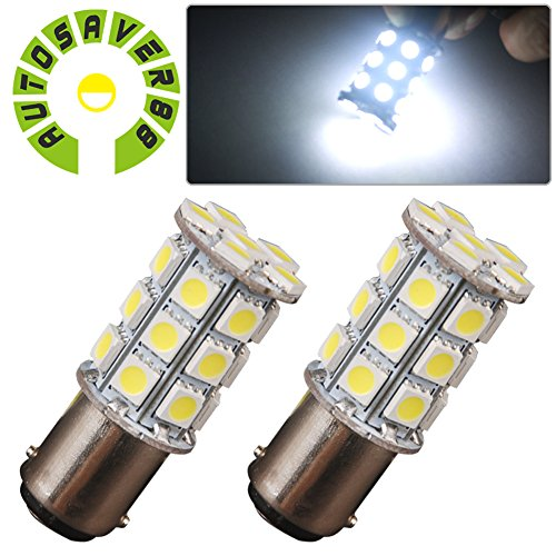 AUTOSAVER88 2 X Xenon White BA15D 5050 27SMD For Boat Marine RV Car LED Light Bulb 1142 1076 (1004 Bulb compare prices)