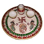 HAV IT Pooja Thali Set with Ganesh, Sindur Dani, Thali, Bowl, Diya