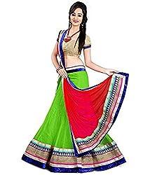 Jay Varudi Creation Women's Green & Red Net Semi-Stiched Lehengas Cholis With Blouse Pcs