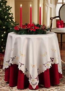 White Christmas Poinsettia Table Linen Square