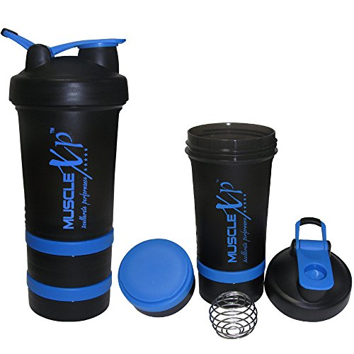 MuscleXP AdvancedStak Protein Shaker For Professionals (Black & Blue) With Steel Ball - Design 6