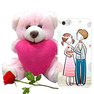 Homesogood Lovely Couple Multicolor 3D Mobile Case For iPhone 5 / 5S (Back Cover) With Teddy & Red Rose