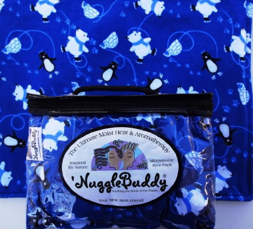 """'Nugglebuddy Moist Heat & Aromatherapy Organic Rice Pack For Microwave. Skating Penguins & Polar Bears! Say """"Hello"""""""" To Your New Best Friend! Spearmint Eucalyptus Aromatherapy."""
