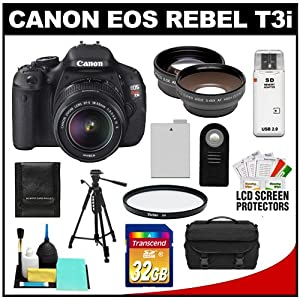 Canon EOS Rebel T3i Digital SLR Camera Body & EF-S 18-55mm IS II Lens with 32GB Card + .45x Wide Angle & 2x Telephoto Lenses + Battery + Remote + Filter + Tripod + Accessory Kit