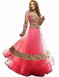 VandV Light Pink Designer Net Anarkali Suits