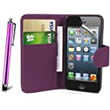 Apple iPhone 4 / 4G / 4S Premium Pu Leather Magnetic Flip Book Wallet Case Cover Pouch Plus Long Stylus Pen, Screen Protector & Polishing Cloth (Purple Book)