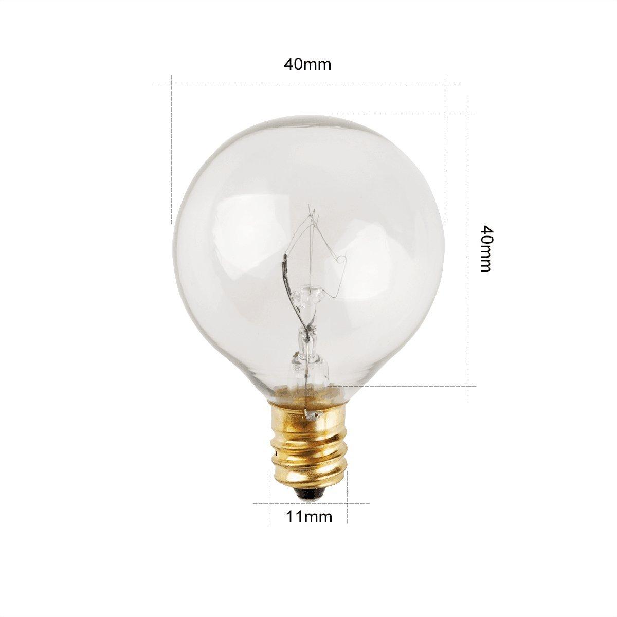 Zitrades Patio Lights G40 Bulbs 25pcs 5 Watts Clear Glass Globe Light Bulbs For