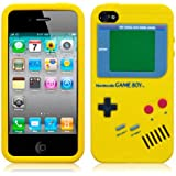 Yellow Novelty Retro Gameboy Style Rubber Skin Case Cover For Apple iPhone 4S