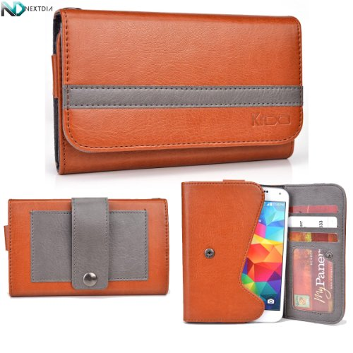 Karbonn A6 Phone Wallet With Belt Attachment Caramel Brown Gunmetal Grey With Credit Card Holder
