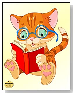 Bookworm Kitty Notebook - Perfect for any kitty lovers or for the child that wears glasses and needs a little self-esteem boost. A cute bespectacled kitty reading a book brightens the cover of this college ruled notebook.