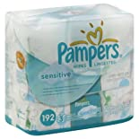 Pampers Wipes, Unscented, Touch of Aloe, Travel Packs 3 - 64 wipe packs [192 wipes]