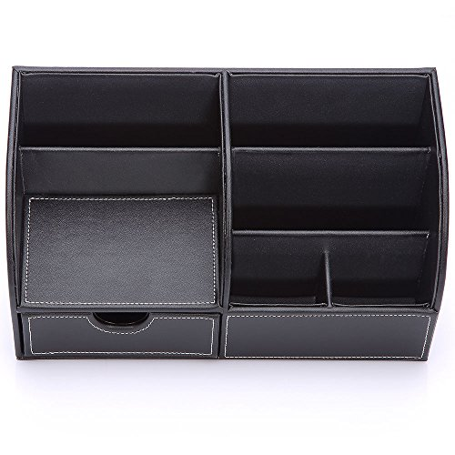 Richblue Multifunctional PU Leather Cover + Wooden Structure Makeup Case Vanity Box Desk Organizer Stationery Holder Caddy 8 Colors (Black)
