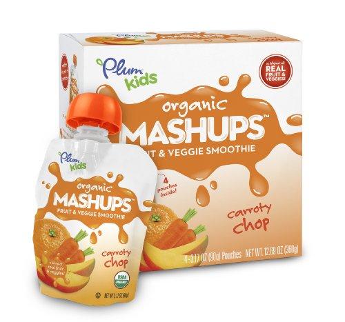 Plum Kids Organic Fruit and Veggie Mashups Carroty Chop 4 Count Pack of 6
