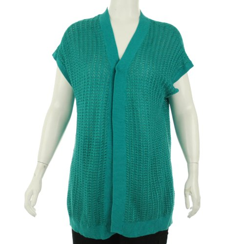 J Jones New York Open Front Short Sleeve Cardigan Aqua Sky 3X