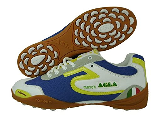 AGLA PROFESSIONAL MATCH OUTDOOR WHITE YELLOW BLUE scarpe da calcetto,calcio a 5,futsal,con anti-shock (EUR 41)